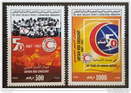 L21 Libya 2007 MNH - Complete Set 2v. - The 50th Anniversary Of Libyan Red Crescent, Red Cross - Libya