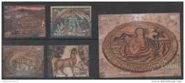 JORDAN , 2015, MNH,MOSAICS, FISH, HORSES, 4v+S/SHEET - Art