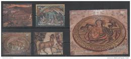 JORDAN , 2015, MNH,MOSAICS, FISH, HORSES, 4v+S/SHEET