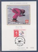 = Jeux Olympiques D'hiver Albertville 92 Carte Postale 1er Jour 73 Les Arcs 29.12.90 N°2675 Ski De Vitesse Savoie 92 - Cartoline Maximum
