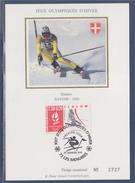 = Jeux Olympiques D'hiver Albertville 92 Carte Postale 1er Jour 73 Les Menuires 19.1.91 N°2676 Slalom Savoie 92 - Cartoline Maximum