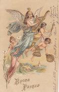 CARD  BUONA PASQUA GRANDE ANGELO SUONA LIRA ANGIOLETTI CAMPANE DORATA IN RILIEVO -FP-V-2- 0882-27305 - Pâques