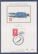 = Jeux Olympiques D'hiver Albertville 92 Carte Postale 1er Jour 73 Macot La Plagne 2.3.91 N°2679 Luge Savoie 92 - Cartoline Maximum