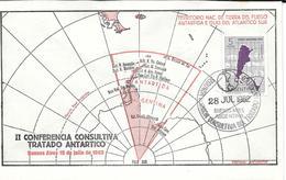 II CONFERENCIA CONSULTIVA TRATADO ANTARTICO RARES ENVELOPPE BUENOS AIRES 18 DE JULIO DE 1962 MAP MAPA MAPE - Postzegels