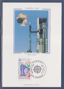 = Europa 1991 Carte Postale 1er Jour 973 Kourou 27.4.91 Timbres 2696 L'Europe Spatiale Guyane Satellite De Télévision - Cartoline Maximum