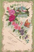 CARD AUGURIO ROSE RICOPERTE DI VELLUTO FARFALLA CORNICE DORATA RILIEVO  -FP-V-2-0882-27310 - Unclassified