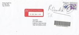 Micronesia 2003 Kolonia $10 National Seal Coat Of Arms Falco Hawkfish Barcoded Registered AR Cover Via Guam - Micronesië