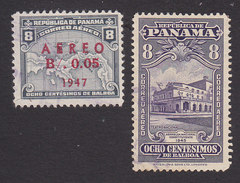 Panama, Scott #C82, C87, Used, Map Surcharged, Theater, Issued 1947 - Panama