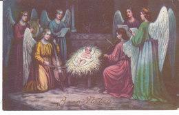 CARD BUON NATALE GESU' BAMBINO IN MANGIATOIA  ANGELI SUONANO LIRA VIOLONCELLO VIOLINO CANTANO DORATA  -FP-V-2-0882-27315 - Natale