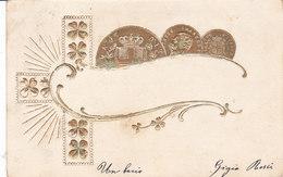 CARD MONETE REGNO D'ITALIA VITTORIO EMANUELE DORATE IN RILIEVO QUADRIFOGLIO PORTA FORTUNA  -FP-V-2-0882-27319 - Monete (rappresentazioni)