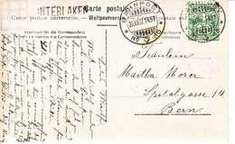 """CACHET LINEAIRE DE """" INTERLAKEN"""" SUR CARTE POSTALE - 1907 - VUE MONTAGNE - Storia Postale"""