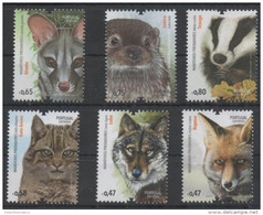 PORTUGAL , 2016, MNH, MAMMALS, PREDATORS, WOLVES, FOXES, OTTERS, BADGERS,WILD CATS,6v