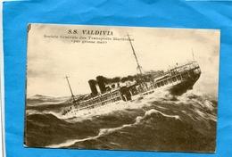 """Paquebot """"SS VALDIVIA"""" S G T M-Par Grosse Mer -années-1910-20édition - Steamers"""