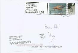 Netherlands 2017 Heerlen Meter Franking Hytech Digital Stamp On Label EMA Grutto Cover Bhutan Returned - Marcofilie - EMA (Print Machine)