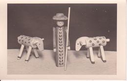 AK Holzfigur - Schäfer Mit Schafen - Erzgebirge (?) - Kunsthandwerk - Ca. 1930 (29060)