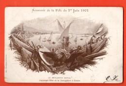 EAG-21 RARE Litho  Genève Souvenir Fête 1er Juin 1901,Le Brigantin Royal, Anc. Fêtes Navigation.Circ.sous Enveloppe - GE Genf