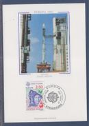 = Europa 1991 Carte Postale 1er Jour 67 Strasbourg 27.4.91 Timbres 2696 L'Europe Spatiale Guyane Satellite De Télévision - Cartoline Maximum