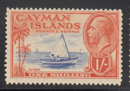 Cayman Islands MH 1935-36 Scott #93 1sh Cat Boat, George V - Ink On Gum - Iles Caïmans