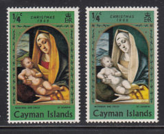 Cayman Islands MH 1969 Scott #243 1/4c Madonna And Child Variety: Missing Colour - Right Stamp - Iles Caïmans