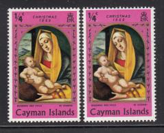 Cayman Islands MH 1969 Scott #245 1/4c Madonna And Child Variety: Colour Shift - Right Stamp - Iles Caïmans