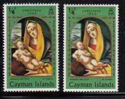 Cayman Islands MH 1969 Scott #243 1/4c Madonna And Child Variety: Colour Shift - Right Stamp - Iles Caïmans