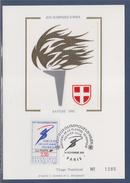 = Jeux Olympiques Hiver Albertville 92 Carte Postale 1er Jour Parcours De La Flamme Paris 14.11.91 N°2732 Logo Officiel - Cartoline Maximum