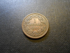 Baden-Durlach 1 Kreuzer 1864  Ku  Mz - Vz+ - Taler & Doppeltaler