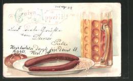 Lithographie Guten Appetit, Bier Mit Wurst Und Radi - Non Classificati