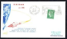 1972  Enveloppe Commémorative Lancement De La Fusée ERIDAN Rv-201  Kourou, Guyane - France