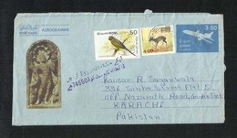 Sri Lanka Ceylon Air Mail Postal Used Aerogramme Cover With Stamps Sri Lanka To Pakistan  Airplane Animal  Birds