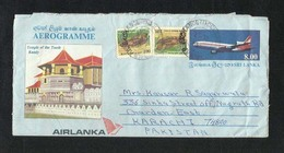Sri Lanka Ceylon Air Mail Postal Used Aerogramme Cover With Stamps Sri Lanka To Pakistan  Airplane Animal  Fish