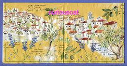 2 SINGLE COCKTAIL SIZE PAPER NAPKIN PAPIER SERVIETTE TOVAGLIOLI VILLAGE OLIVE TREES LAVENDER OLIVES - Paper Napkins (decorated)