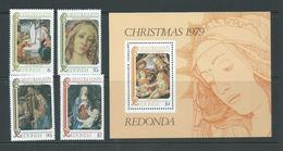 Redonda 1979 Christmas Paintings Set Of 4 & Miniature Sheet MNH