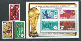 Redonda 1979 Soccer World Cup Overprints On Antigua Set Of 3 & Miniature Sheet MNH