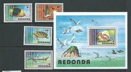 Redonda 1980 Marine Life Set Of 4 & Miniature Sheet MNH