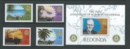 Redonda 1980 Rotary Set Of 4 & Miniature Sheet MNH