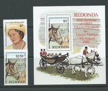Redonda 1980 Queen Mother Set Of 2 & Miniature Sheet MNH