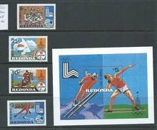 Redonda 1980 Olympics Lake Placid & Moscow Set Of  & Miniature Sheet MNH ,  Gum Glaze