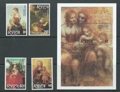 Redonda 1980 Christmas Durer & Da Vinci Paintings Set Of 4 & Miniature Sheet MNH