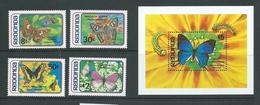 Redonda 1982 Butterfly Set Of 4 & Miniature Sheet MNH