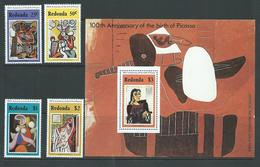 Redonda 1981 Picasso Paintings Set Of 4 & Miniature Sheet MNH