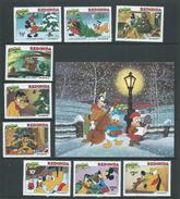 Redonda 1981 Christmas Disney Set Of 9 & Miniature Sheet MNH