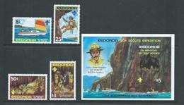 Redonda 1982 Boy Scout . Baden Powell Set Of 4 & Miniature Sheet MNH