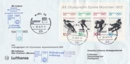 Germany Olympiapost From Kiel - Hamburg - München With Lufthansa Posted Kiel Olympisches Dorf 1972 (LAR5-12)
