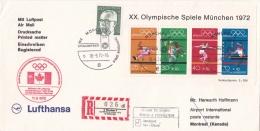 Germany Olympiapost From München -> Montreal P/m München Schlussfeier 1972 Franked W/Minisheet (LAR5-12)