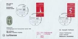 Germany Olympiapost From München -> Melbourne W/Lufthansa P/m München Eröffnungsfeier 1972 (LAR5-12)