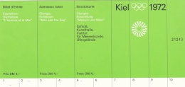 München Olympic Games 1972: Ticket To Exposition Olympique L'homme Et La Mer In Kiel  (LAR5-13)