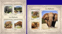GUINEA REP. 2017 ** Elephants Elefanten M/S+S/S - OFFICIAL ISSUE - DH1721
