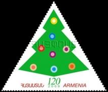 Armenia MNH** 2009 New Year Velvet Stamp Unusual Triangle Christmas Tree Mi 682 - Armenia