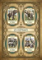 CHAD TCHAD 2017 ** Elephants Elefanten M/S - IMPERFORATED - DH1721 - Elephants